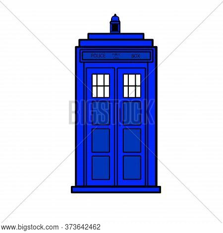 Vector Illustration Blue Police Call Box Isolated
