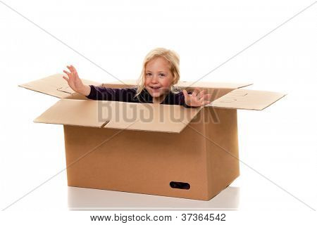 child in moving box. if moving to box.