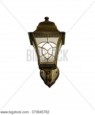 Bronze Sconce With Turned On Bulb Made In Style Of Old Lantern. Shadowless Isolated On White Backgro
