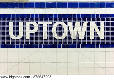 New York City Subway Sign Towards Uptown In Midtown Manhattan Station, Usa