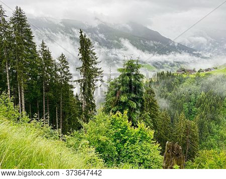 Mountain Morning Fog, Landscape With Forest And High Up Houses