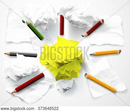 Good Idea Symbol Creativity Ligh Bulb Clumps Paper