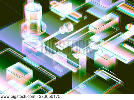 3d Visualization Of Data And Glitch Technology Background. Abstract Technology Innovation Future Dig