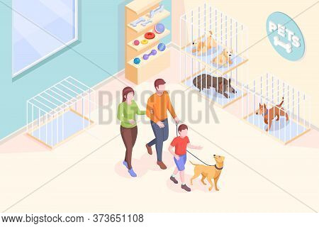 Pet Adoption, Family Takes Dog From Shelter, Vector Isometric Illustration. Family Mother And Father