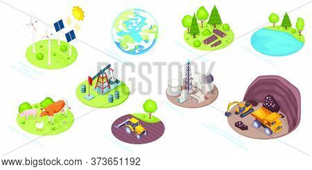 Natural Resources Icons, Eco Nature And Renewable Energy Sources, Vector Isometric. Natural Resource