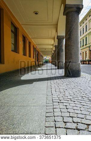 Zielona Gora Poland 8 June 2019 Concrete Arcs And Pillars With Sun Lights And Shadows