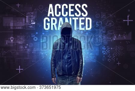 Faceless man with ACCESS GRANTED inscription, online security concept
