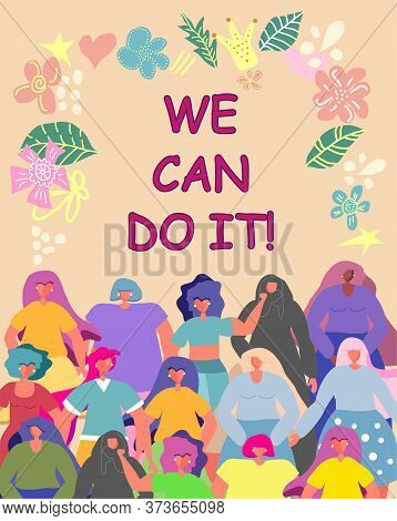 Illustration Graphic Group Of Women, Girls, Power, Strong, Strength. Girl Power