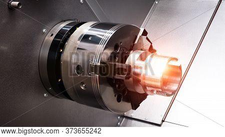 Cnc Lathe Machine Or Turning Machine. Hi Technology Manufacturing Process.