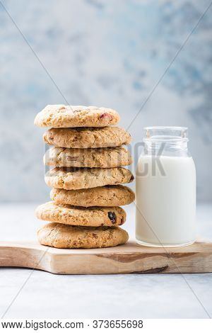 Oat Vegan Cookies With Almond Milk. Delicious Chocolate Diet Treats For Vegans, Made From Natural In