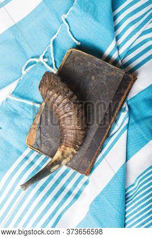Jewish Traditional Objects,  Tallit, Prayer Book Shofar -horn On Blue Jewish Prayer Shawl.  Copy Spa
