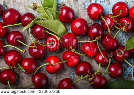 Creative Fresh Cherry Pattern Background With Copy Space. Top View. Cherry Organic,