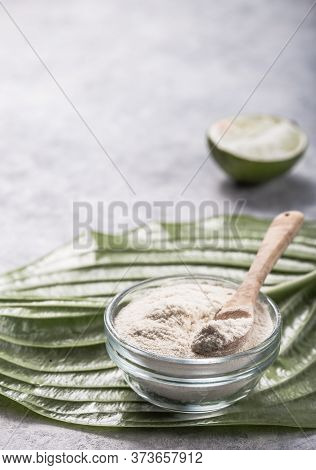 Collagen Powder In Glass  With  Slice Of Lime; Vitamin C . Collagen Supplements May Improve Skin Hea