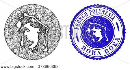 Mesh Subtracted Round Bora-bora Map And Scratched Stamp. Bora-bora Map Is A Hole In A Round Stamp. W