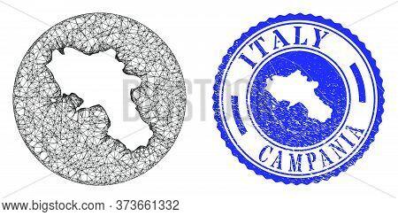 Mesh Stencil Round Campania Region Map And Grunge Seal Stamp. Campania Region Map Is Stencil In A Ci