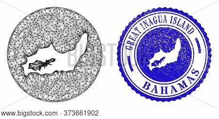 Mesh Subtracted Round Great Inagua Island Map And Grunge Stamp. Great Inagua Island Map Is A Hole In
