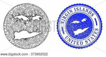 Mesh Subtracted Round American Virgin Islands Map And Scratched Seal Stamp. American Virgin Islands