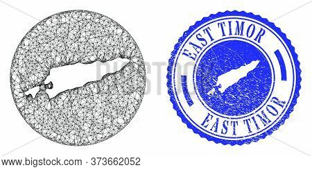 Mesh Hole Round East Timor Map And Grunge Seal Stamp. East Timor Map Is A Hole In A Round Seal. Web