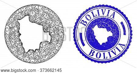 Mesh Hole Round Bolivia Map And Grunge Seal Stamp. Bolivia Map Is A Hole In A Circle Seal. Web Netwo