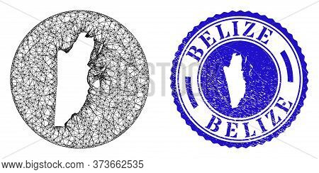 Mesh Stencil Round Belize Map And Scratched Stamp. Belize Map Is Stencil In A Circle Stamp Seal. Web