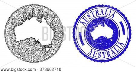 Mesh Subtracted Round Australia Map And Scratched Stamp. Australia Map Is A Hole In A Round Stamp Se