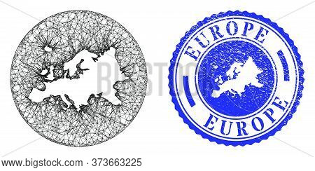 Mesh Hole Round Europe Map And Scratched Stamp. Europe Map Is Carved In A Circle Stamp Seal. Web Net