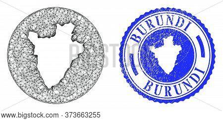 Mesh Stencil Round Burundi Map And Grunge Seal Stamp. Burundi Map Is A Hole In A Circle Stamp. Web M