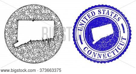 Mesh Stencil Round Connecticut State Map And Grunge Seal Stamp. Connecticut State Map Is Carved In A