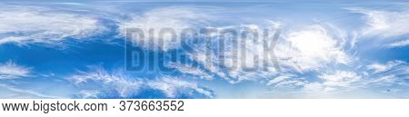 360 Panorama Sky With Clouds Without Ground, For Easy Use In 3d Graphics And Panorama For Composits