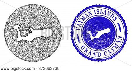 Mesh Hole Round Grand Cayman Island Map And Grunge Seal Stamp. Grand Cayman Island Map Is A Hole In