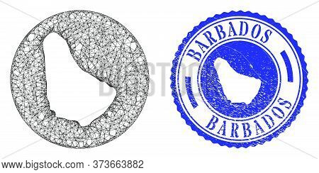 Mesh Subtracted Round Barbados Map And Scratched Seal Stamp. Barbados Map Is Subtracted From A Circl