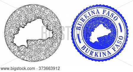 Mesh Stencil Round Burkina Faso Map And Grunge Seal Stamp. Burkina Faso Map Is A Hole In A Circle St