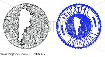 Mesh Stencil Round Argentina Map And Grunge Seal Stamp. Argentina Map Is Stencil In A Circle Stamp S