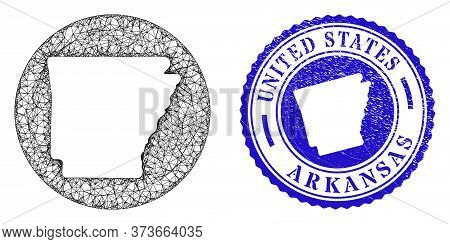 Mesh Inverted Round Arkansas State Map And Grunge Stamp. Arkansas State Map Is A Hole In A Round Sta