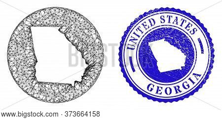 Mesh Inverted Round Georgia State Map And Grunge Seal Stamp. Georgia State Map Is A Hole In A Round