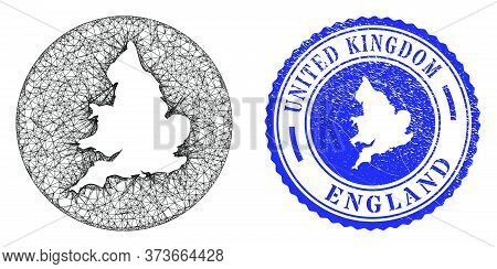Mesh Hole Round England Map And Grunge Stamp. England Map Is Inverted In A Round Stamp Seal. Web Mes