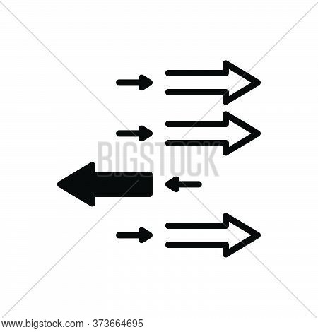 Black Solid Icon For Individualization Arrow Forward Backwards Opposite Direction