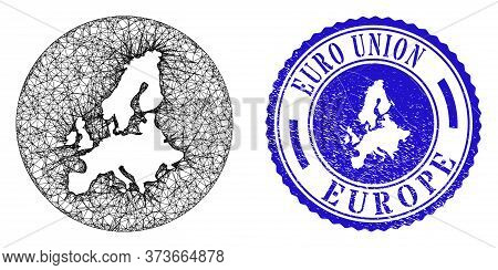 Mesh Stencil Round Euro Union Map And Scratched Seal Stamp. Euro Union Map Is Inverted In A Circle S