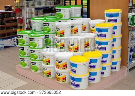Minsk, Belarus - May 16, 2020: Paint From Various Manufacturers Is Sold In Store.