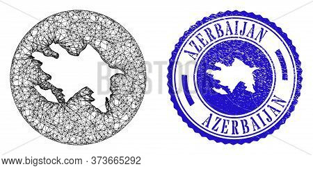 Mesh Hole Round Azerbaijan Map And Scratched Stamp. Azerbaijan Map Is A Hole In A Circle Stamp. Web