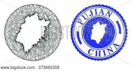 Mesh Stencil Round Fujian Province Map And Scratched Stamp. Fujian Province Map Is A Hole In A Round