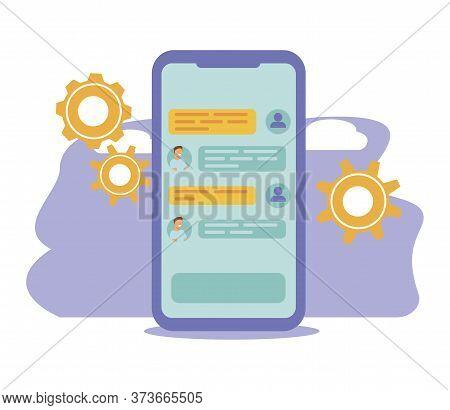 Chatbot Vector Illustration. Flat Tiny Virtual Smartphone Conversation Persons Concept. Ai Robot Ass