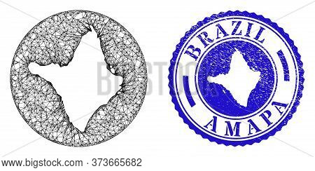 Mesh Subtracted Round Amapa State Map And Grunge Seal Stamp. Amapa State Map Is Inverted In A Round