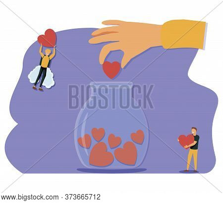 Support Concept, Flat Tiny Volunteer Persons Vector Illustration. Donation Jar Collecting Heart Symb