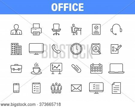Set Of 24 Office And Workplace Web Icons In Line Style. Teamwork, Workplace, Coffee, Work, Business,