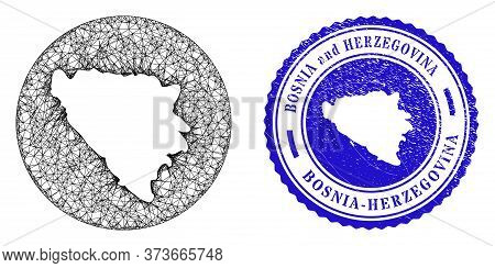 Mesh Inverted Round Bosnia And Herzegovina Map And Scratched Seal Stamp. Bosnia And Herzegovina Map