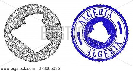Mesh Subtracted Round Algeria Map And Scratched Seal Stamp. Algeria Map Is Carved In A Circle Stamp