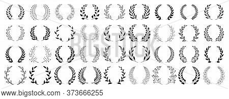Set Of Black Circular Foliate Laurels Branches. Vintage Laurel Wreaths Collection. Hand Drawn Vector