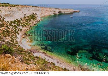 Incredible Colors Of View On Colorful Rocks On Coastline In Malta. Juicy Blue And Green Sea, Blue Sk