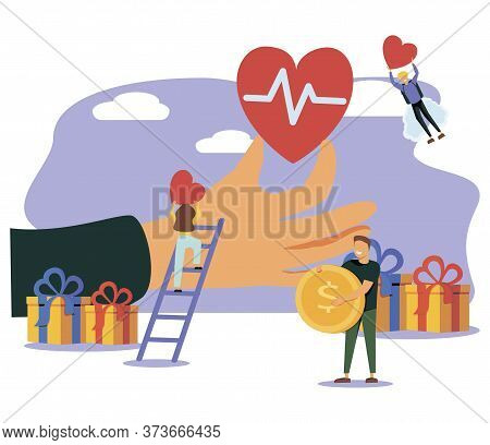 Voluntary Help Concept, Flat Tiny Persons Vector Illustration. Global Health And Financial Crisis Ai